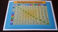 MULTIPLICATION SQUARE -Learn TIMES TABLES  - KS1 KS2 - A4 Laminated POSTER