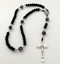 Handmade  Black Onyx /lampwork  Cord  Rosary , Jerusalem cross center