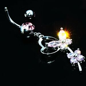 Long Pink butterfly belly ring Dangle Drop Button navel piercing jewelry Womens