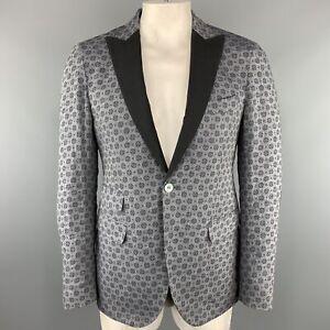 MICHAEL BASTIAN Size US 40 / IT50 Grey Print Linen Peak Lapel Sport Coat Jacket