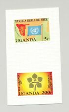 Uganda #369-370 Flags, Maps, Namibia, UN 2v Imperf Proofs on Card