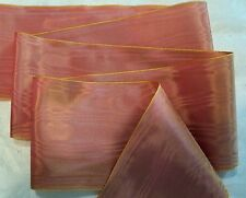 "4"" WIDE GERMAN MOIRE RIBBON - RAYON - YELLOW ROSE - IRIDESCENT"