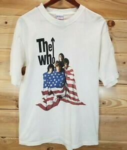 THE WHO NORTH AMERICAN US FLAG TOUR 2002 BAND PHOTO CONCERT WHITE T-SHIRT-LARGE
