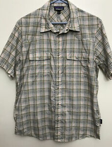 Patagonia Worn Wear Men's M SS Shirt Snap Up Brown Plaid Vented Lightweight