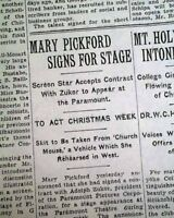 MARY PICKFORD Signs Contract w/ ADOLPH ZUKOR Paramount Pictures 1933 Newspaper