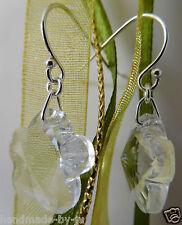 Plata Esterlina & Preciosa Cristal Flor Pendientes de componentes cuelgan Anzuelo