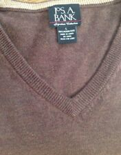 Jos A Bank Signature  Men's L Brown Merino Wool Long Sleeve V Neck Sweater