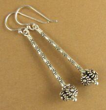 Long drop earrings with fancy ball. Flowers. Fine & sterling silver. Handmade.