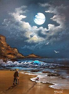 MAL.BURTON ORIGINAL OIL PAINTING  MOON LIGHT WALK MAN DOG NORTHERN ART DIRECT