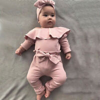 Newborn Infant Baby Girls Frill Solid Romper Bodysuit Bow Pant Outfits Clothes