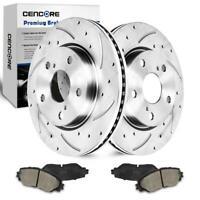 For 2007-2014 Jeep Patriot New Rear Drill Slot Brake Disc Rotors Ceramic Pads