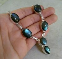 "NATURAL OVAL BLUE FIREY LABRADORITE 925 STERLING SILVER NECKLACE 20"" HANDMADE"