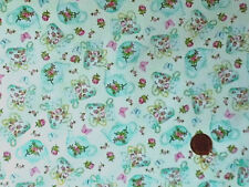 CREAM WITH A DESIGN OF MINT TEACUPS & TEAPOTS 100% COTTON FABRIC FQ'S