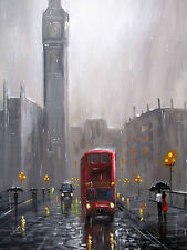 100%HAND-PAINTED ART ACRYLIC OIL PAINTING rainy SCENERY London street 16X20INCH