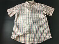 Orvis Mens Colorful Plaid Front Pocket Button Front Shirt Size Large