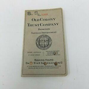 1928 Vieux Colonie Trust Compagnie Boston Banque Register Reçu Dépôt Passe Livre