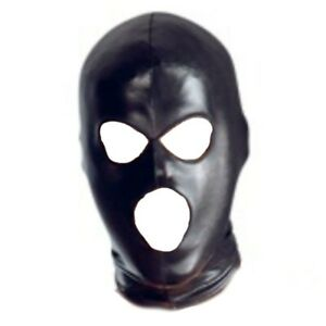 NEW QUALITY 3 HOLE Full Head Mask Leather Halloween Cosplay Costumes Prop UK