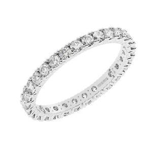 1 Carat Claw Set Round Brilliant Cut Diamond Full Eternity Ring in 9K White Gold