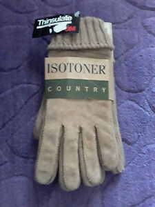 Isotoner Country Knit Suede Men's Gloves Camel One Size