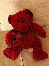 """Russ Berrie SIZZLES Red Teddy Bear With Sparkles & Ribbon 9"""" Vintage Rare VGC"""