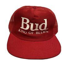Vintage 80s Budweiser Bud King of Beers Red Snapback Mesh Trucker Hat USA