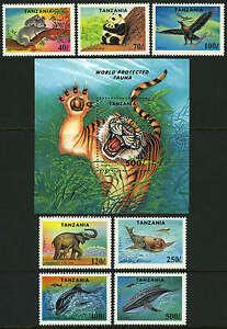 Tanzania 1287-1294, MNH. Endangered Species:Koala,Panda,Tiger,Seal, Whale, 1994