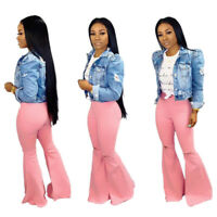 Women Fashion High Waist Pink Ripped Skinny Long Bell-bottom Jeans Denim Pants