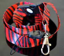 "20"" L BLACK & RED ZEBRA ANIMAL PRINT LANYARD CELLPHONE HOLDER & KEY CHAIN"