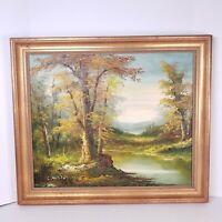 "C.INNESS Original Oil Landscape Painting  Framed 27.5""×24"" Signed Autumn River"