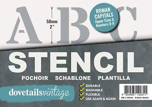 "Letter Stencil Set Roman CAPITALS NUMBERS 0123456789 50mm tall 1.96""  6 X sheets"