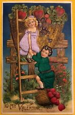 Embossed Valentine Postcard Silk Applied Clothes on Kids w/ Basket of Hearts