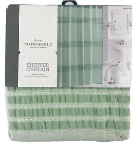 Threshold Two Tone Mint Green Striped Shower Curtain 100% Cotton