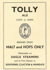 TOLLY ALE  SOUTHEND, CLACTON & MARGATE STEAMERS, England, 1937, 250gsm A3 Poster