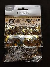 80th Birthday Confetti Table Decoration Sprinkle Black Silver Gold Age 80 Party
