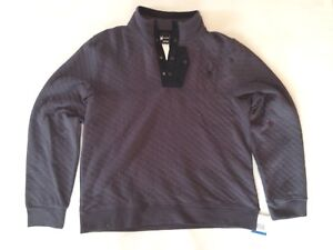 Men's Spyder Quilted Button Pullover Fleece Sweater Ski Charcoal Grey Size XL