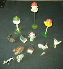 VINTAGE LEAD FARMYARD ITEMS INC. MILKMAID, BEEHIVE, DOVECOTES ETC., 13 IN TOTAL.