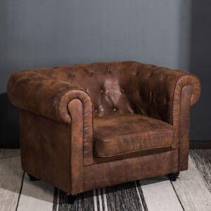 Distressed Tan Leather Fabric Chesterfield Armchair Button Tub Chair Club Chair
