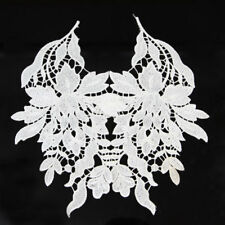 1 Pair Sewing Applique Off White Fabric Chic Mirror Flower Motif Lace Trim DIY
