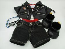 Build-a-Bear Workshop Harley Davidson Faux Leather Biker Jacket Outfit - Babw