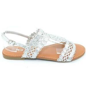 Sandalo donna positano argento linea basic  texture uncinetto cinturino retro su