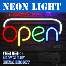 Neon Open Sign 19.7x9.8 inch Led Light 25W Horizontal Game Rooms Hanging Chain