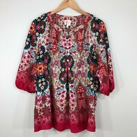 Fig and Flower 3/4 Sleeve Peasant Top Womens 1X Floral Red Pink Multi Color
