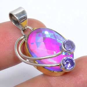 "Rainbow Mystic Topaz & Alexandrite 925 Sterling Silver Jewelry Pendant 1.37"" M47"