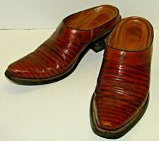 Ariat Leather Lizzard Mules Western Style Ankle Booties Size 6.5B Exotic Desert