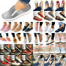Womens Denim Canvas Zip Loafers Pumps Slip On Comfy Flat Trainers Sneakers Shoes
