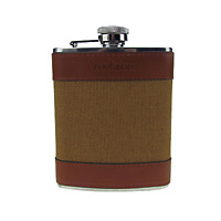Creative Portable Stainless Steel 6oz Hunting Hip Flask Canvas Leather gift
