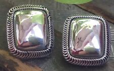 Sterling Silver Clip On Earrings Square Surrounded by Rolo Designe