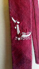 Vintage Silk Handwoven 60s Tie Thai Silk Skinny Punk Style Burgandy Dragon Boat