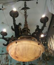 BEAUTIFUL GERMAN OR FRENCH ART NOUVEAU BRONZE FIGURES AND ALABASTER CHANDELIER
