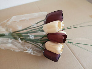 Tulip Bouquet Wooden Flowers Holztulpen Artificial Birthday Cream, Aubergine